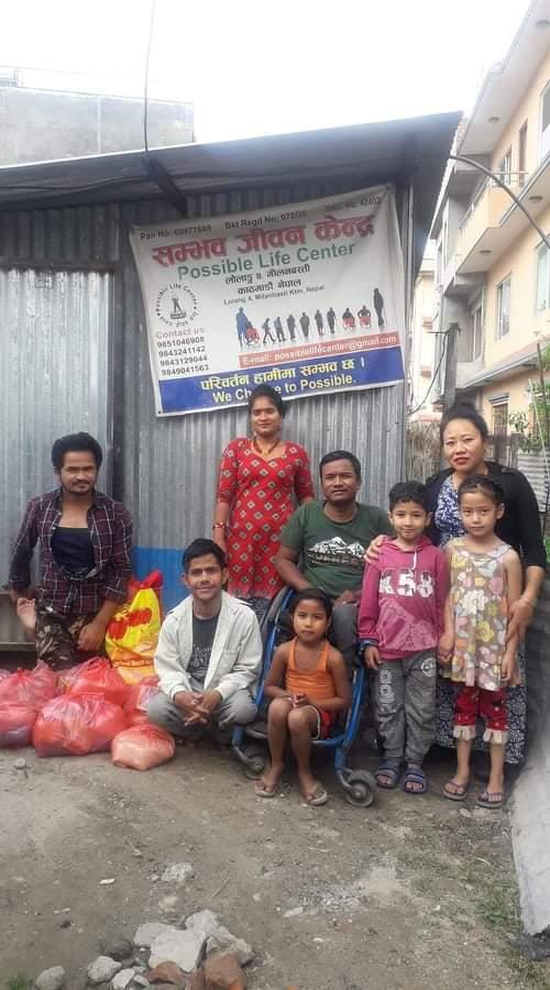 Lebensmittel für Behindertenwerk in Kathmandu